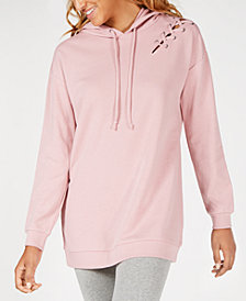Material Girl Juniors' Lace-Up Hoodie, Created for Macy's