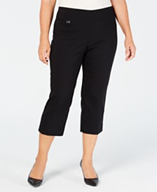 ae03f9e8cb326 Alfani Plus Size Tummy-Control Pull-On Capri Pants