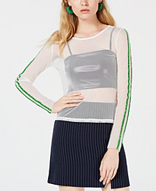 PROJECT 28 NYC Mesh Striped-Sleeve Top