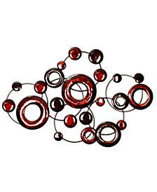Stratton Home Decor Red Metallic Circles Wall Decor