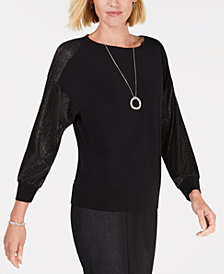JM Collection Pleated-Sleeve Necklace Top, Created for Macy's