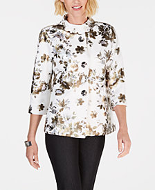 JM Collection Metallic Floral-Print Jacket, Created for Macy's