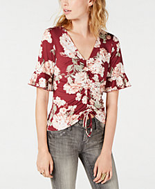 Ultra Flirt by Ikeddi Juniors' Printed Ruched Top