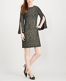 MSK Split-Sleeve Metallic Shift Dress