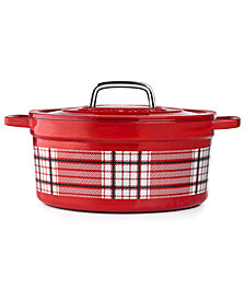 Martha Stewart Collection 6-Qt. Red Plaid Enamel Cast Iron Casserole, Created for Macy's