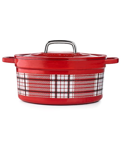 Martha Stewart Collection CLOSEOUT! 6-Qt. Red Plaid Enamel Cast Iron Casserole, Created for Macy's