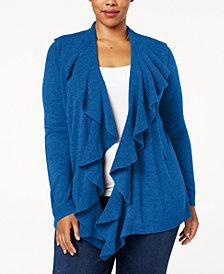 Karen Scott Plus Size Luxsoft Ruffled Cardigan, Created for Macy's