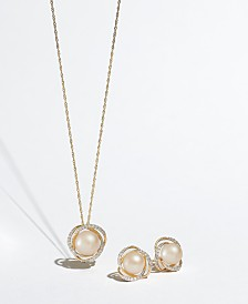 "Honora Cultured Freshwater Pearl (8mm) & Diamond (1/8 ct. t.w.) 18"" Pendant Necklace in 14k Gold"