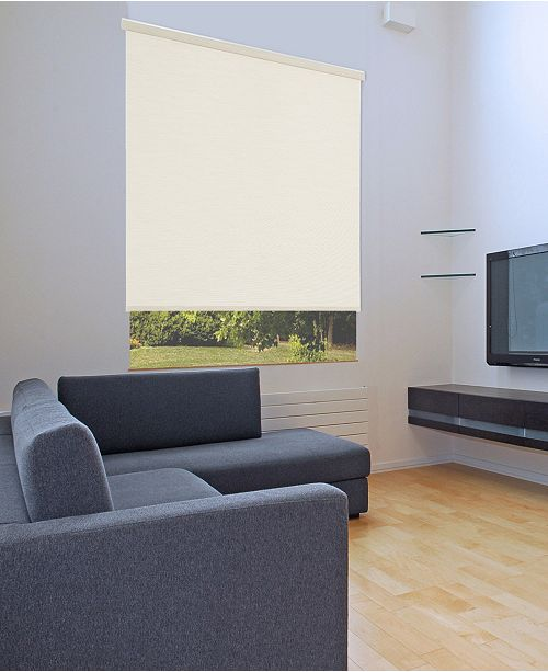 "US Shade & Shutter Cordless Linen Look Light Filtering Fabric Roller Shade, 39""  W x 66"""