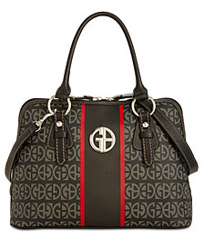 Giani Bernini Block Signature Stripe Dome Satchel, Created for Macy's