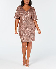 Alex Evenings Plus Size Sequin Capelet Dress