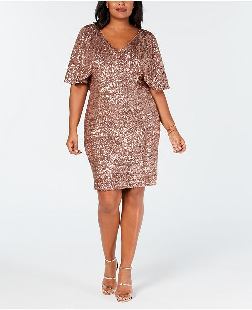 Alex Evenings Plus Size Sequin Capelet Dress & Reviews ...