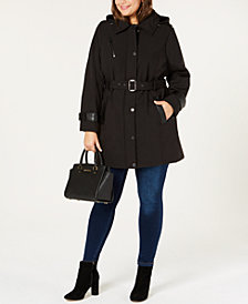 MICHAEL Michael Kors Plus Size Faux-Leather-Trim Hooded Raincoat