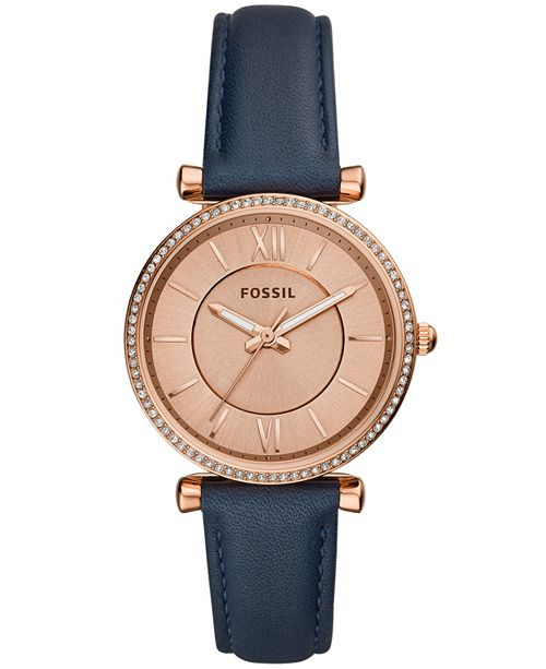 23d30c7ae993 Fossil Women s Carlie Navy Leather Strap Watch 35mm   Reviews ...