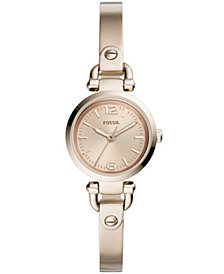 Fossil Women's Georgia Mini Pastel Pink Stainless Steel Bracelet Watch 26mm