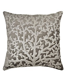 Sea Foam Tree of Life Applique Pillow