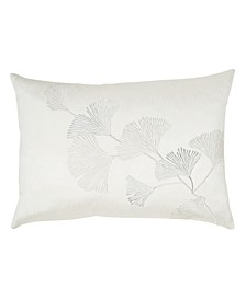 Ivory Ginkgo Leaf Embroidered Pillow
