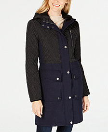 Lucky Brand Quilted-Panel Hooded Coat