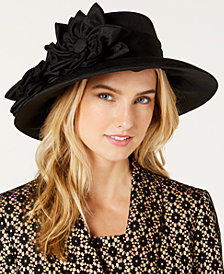 August Hats Flower-Accent Textured Hat