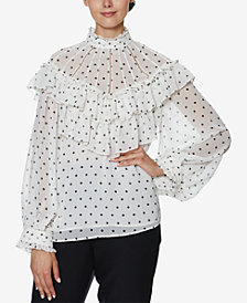 INSPR x Natalie Off Duty Ruffle Polka Dot Top, Created for Macy's