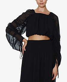 INSPR x Natalie Off Duty Ruched Sleeve Crop Top, Created for Macy's