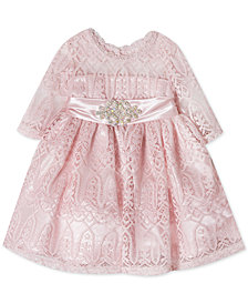 Rare Editions Baby Girls Embellished Lace Illusion Dress