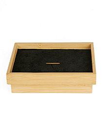Mind Reader Bamboo Coin Storage Tray Box, Brown