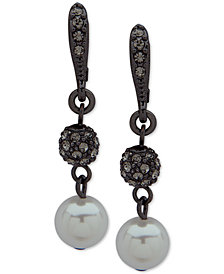 Givenchy Hematite-Tone Imitation Pearl & Pavé Bead Drop Earrings