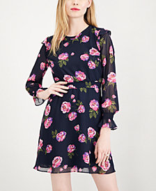 Maison Jules Printed Smocked Fit & Flare Dress, Created for Macy's