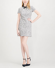 Maison Jules Embellished Collar Metallic Jacquard Dress, Created for Macy's