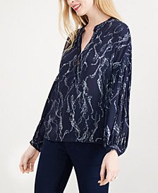 Maison Jules Printed Pleat-Detailed Top, Created for Macy's