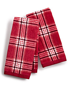 Martha Stewart Collection Cotton Plaid 2-Pc. Fingertip Towel Set, Created for Macy's