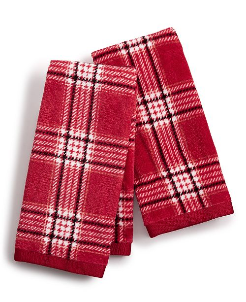 Martha Stewart Collection  CLOSEOUT! Cotton Plaid 2-Pc. Fingertip Towel Set, Created for Macy's