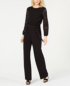 MICHAEL Michael Kors Lace-Sleeve Jumpsuit, in Regular and Petite Sizes