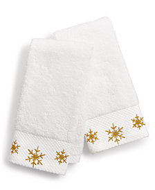 CLOSEOUT! Martha Stewart Collection Snowflake Cotton Embroidered 2-Pc. Fingertip Towel Set, Created for Macy's