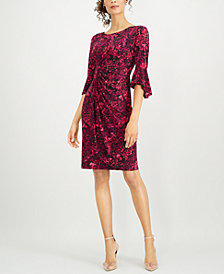 Connected Ruffle-Sleeve Shift Dress