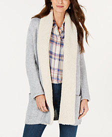 Style & Co Petite Fleece-Contrast Shawl Cardigan, Created for Macy's
