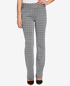 CeCe Extend-Tab Plaid Bootcut Pants
