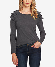 CeCe Ruffled Long-Sleeve Top