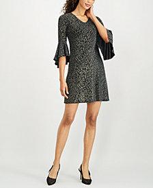 MSK Petite Printed Metallic Bell-Sleeve Dress