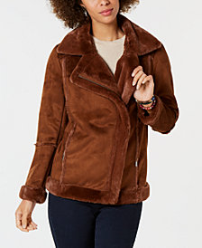 Style & Co Faux-Shearling Moto Jacket, Created for Macy's