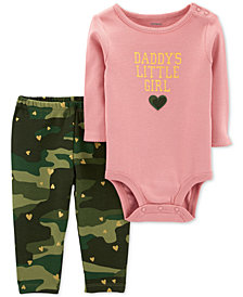 Carter's Baby Girls 2-Pc. Cotton Daddy's Girls Bodysuit & Camo-Print Pants Set