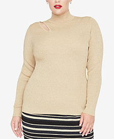 RACHEL Rachel Roy Trendy Plus Size Cutout Sweater