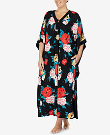 Ellen Tracy Plus Size Flower-Print Long Caftan