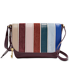 Fossil Maya Leather & Suede Striped Crossbody