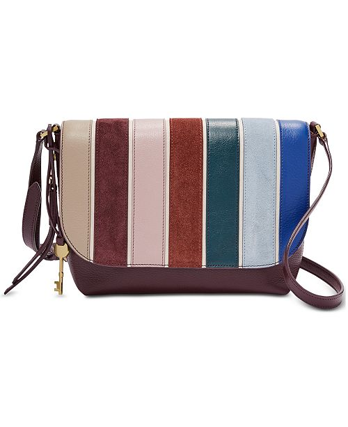 300e1d8a619f Fossil Maya Leather   Suede Striped Crossbody   Reviews - Handbags ...