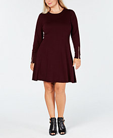 MICHAEL Michael Kors Plus Size A-Line Zipper-Sleeve Dress