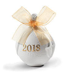 Lladró 2018 Christmas Re-Deco Gold Ball Ornament