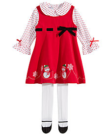 Blueberi Boulevard Baby Girls 3-Pc. Snowman Jumper Set