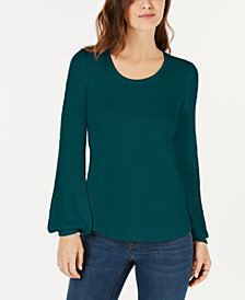 Style & Co Textured-Sleeve Sweater, Created for Macy's